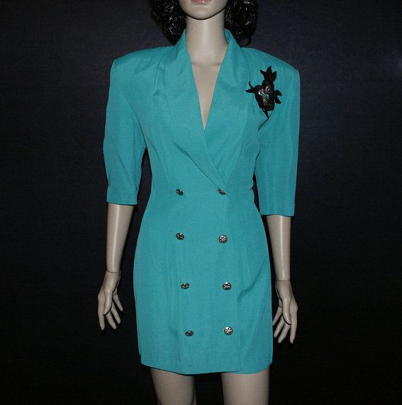 Vintage green double breasted BLAZER DRESS with by SugarWolf909, $28.00