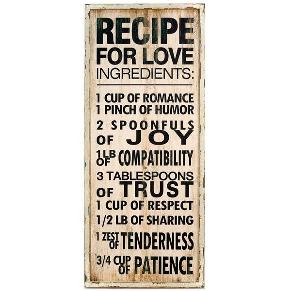 VIP International \'Recipe for Love\' Wooden Sign ($54) ❤ liked on ...