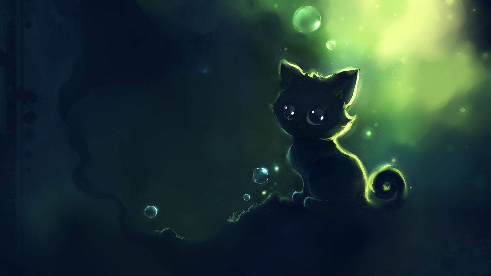 Apofiss小さな黒い猫の壁紙の水彩イラスト 7 1920x1080 猫 アニメ
