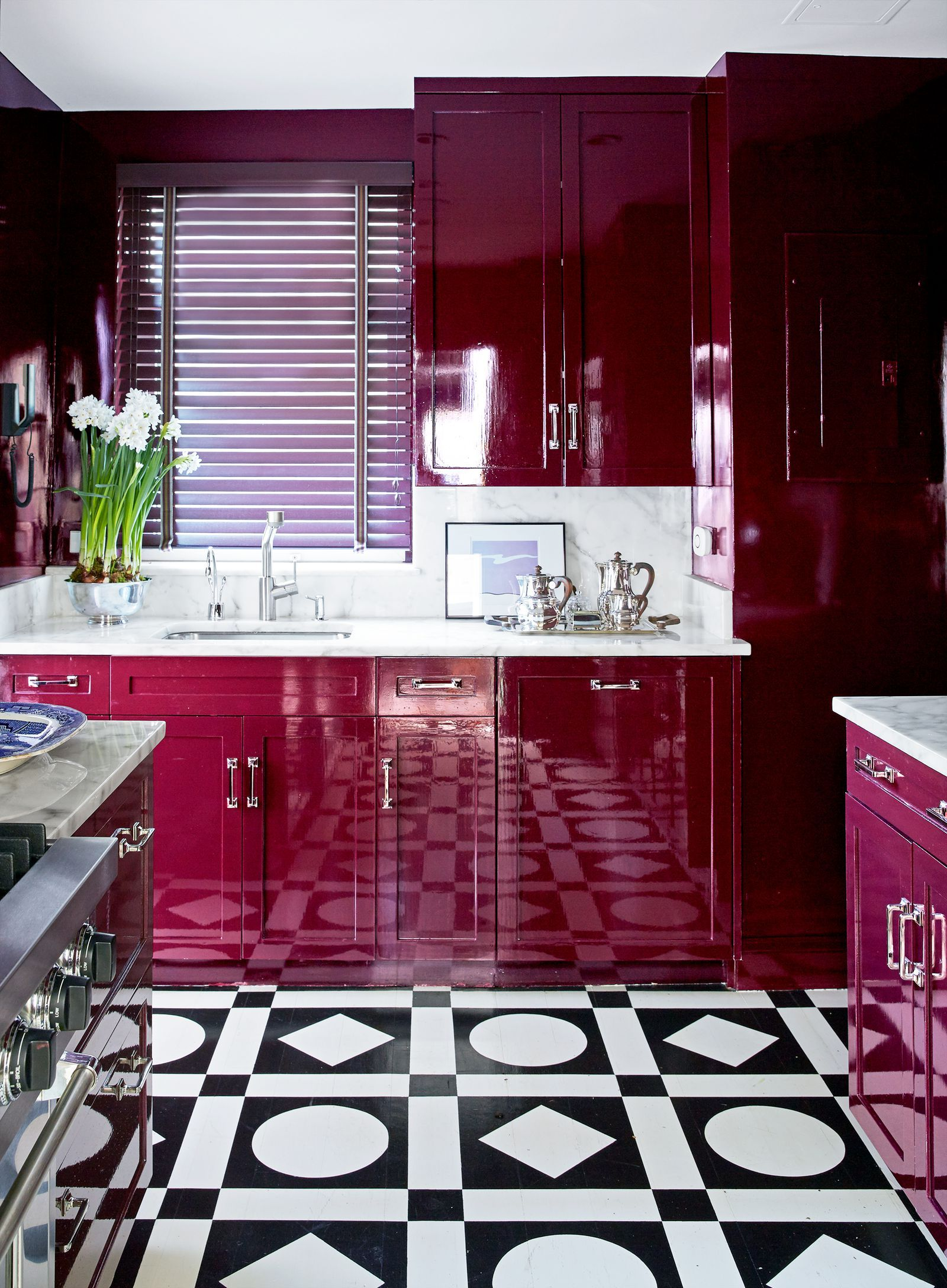 Go Glam With A High Gloss Deep Red Reminiscent Of Wine The Robust Full Color Adds So Much Depth And Best Kitchen Designs Kitchen Design Small Purple Kitchen