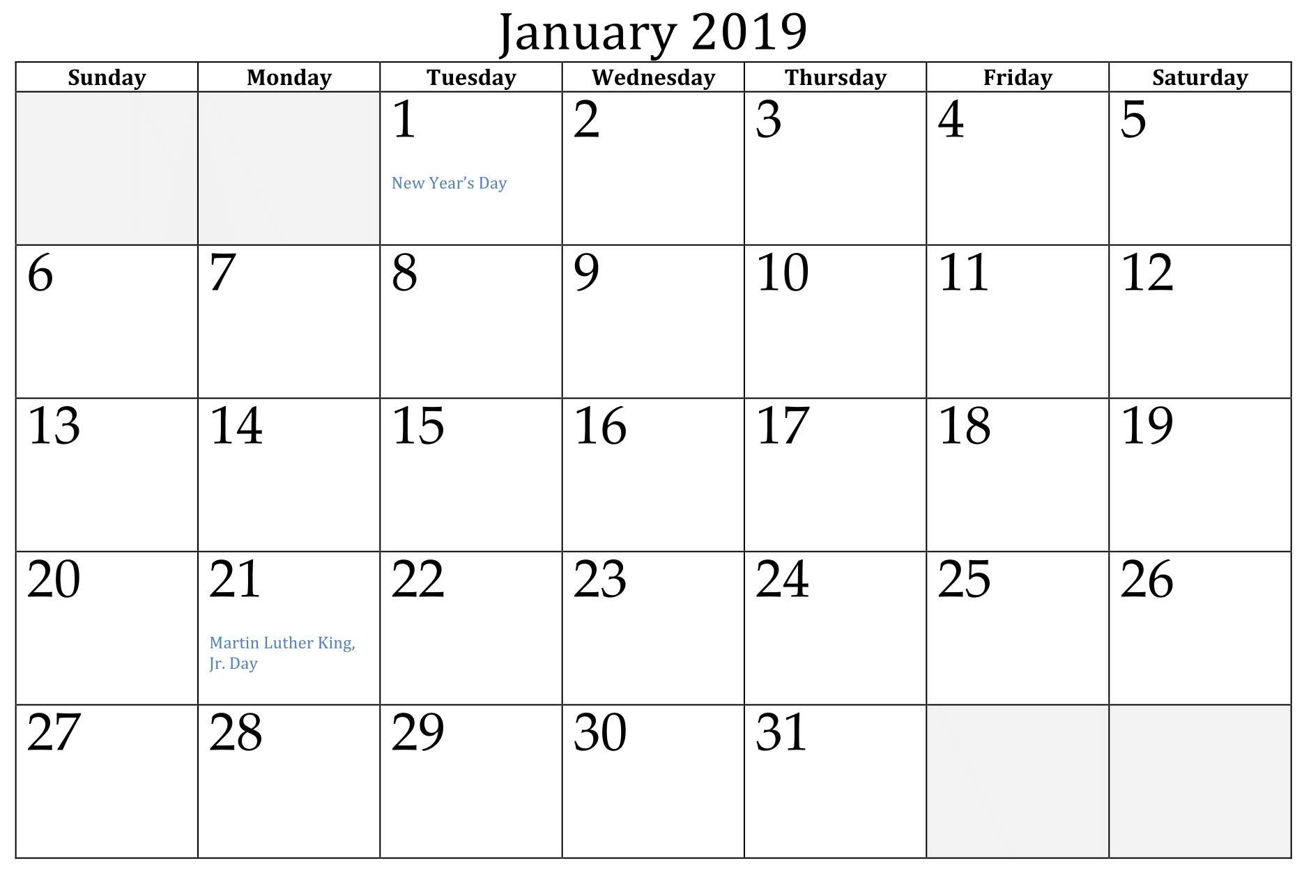 January Calendar Editable