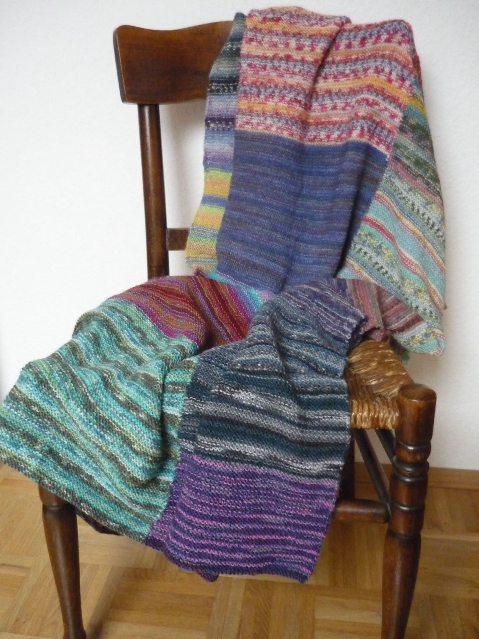 Wolldecke Stricken Decke Stricken Patchwork Aus Sockenwolle Reste Stricken