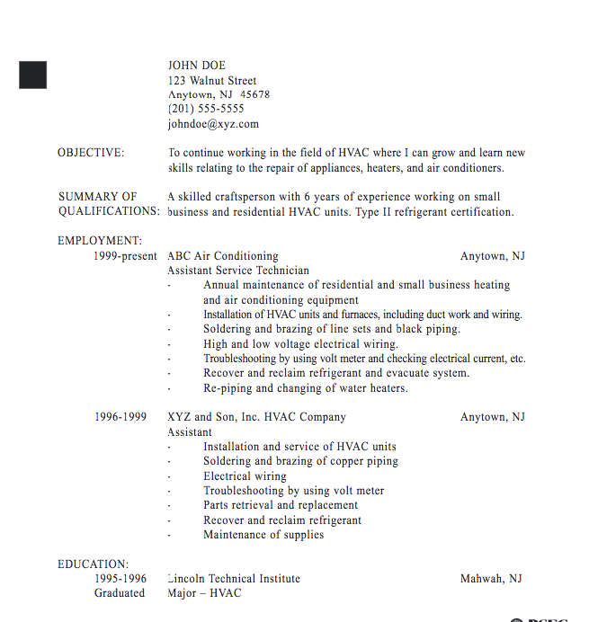 Technician Resume Hvac Technician Resume Sample  Httpexampleresumecvhvac