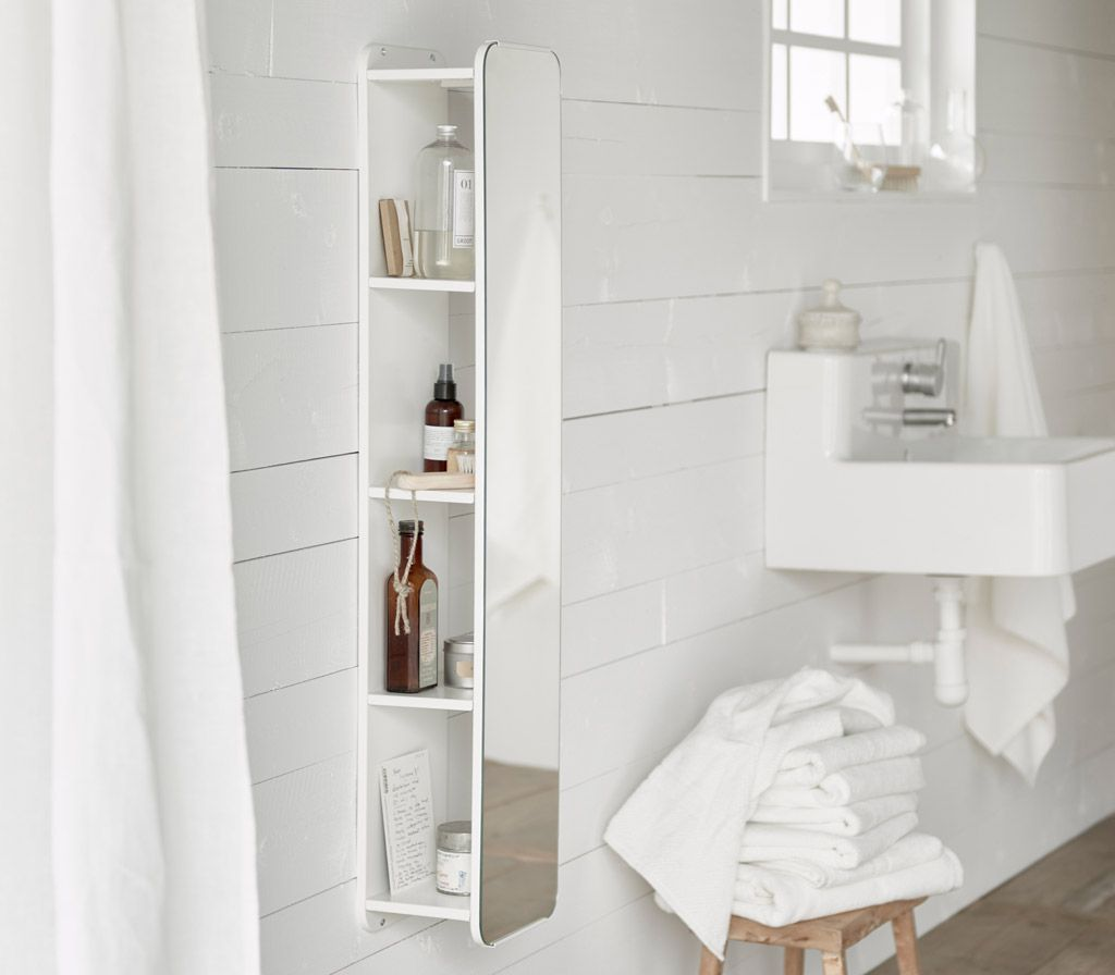 A White Wall Mirror With Shelves Behind That Stores Bottles And Creams Bathroom Mirror With Shelf Mirror Wall Living Room Large Bathroom Mirrors