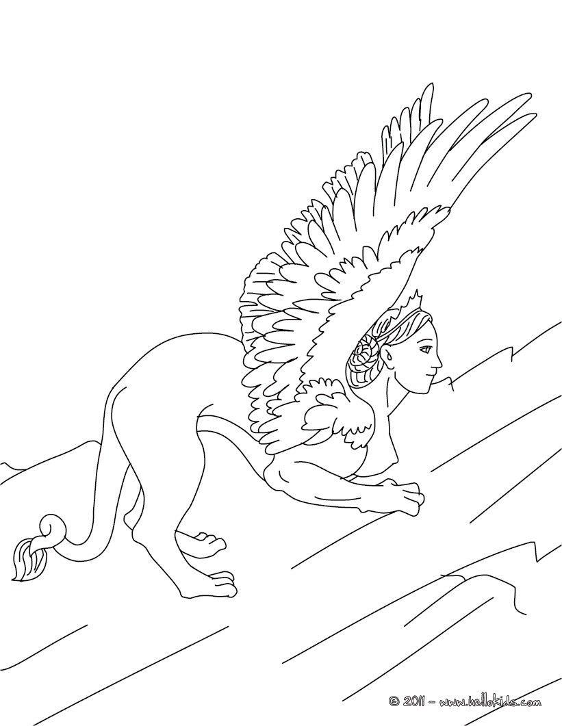 Kleurplaat SPHINX the monstruous woman-headed lion of greek ...