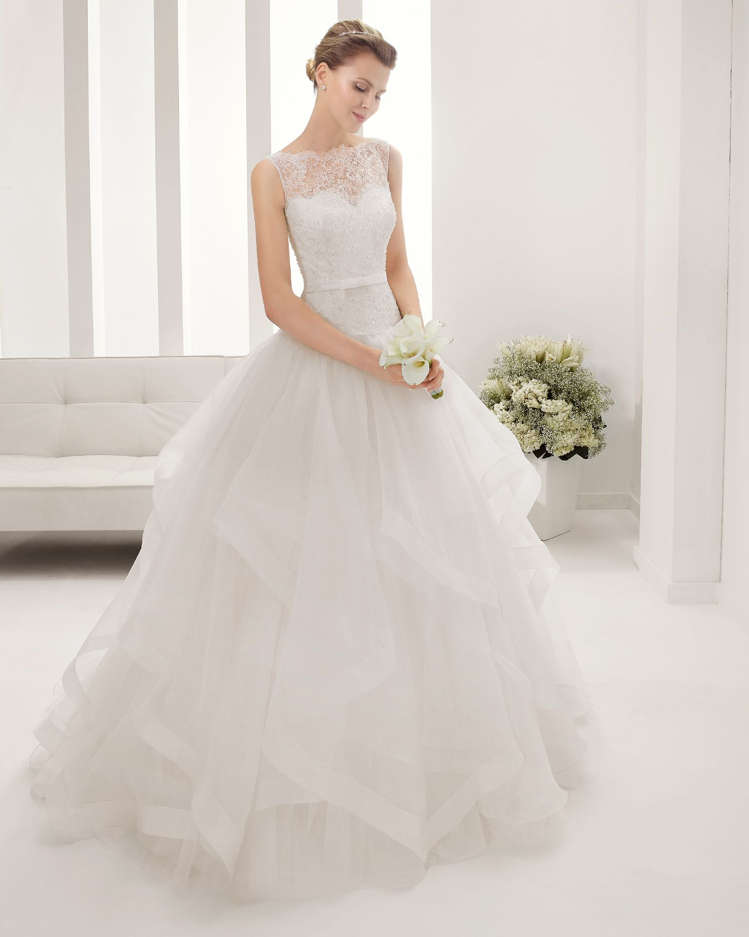 Pleated wedding dress  B PRATO  Wedding Dresses   Collection  Alma Novia  Some