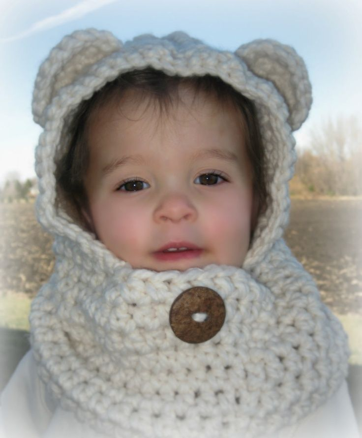The Kisses Cozy Bear Scoodie -- Scarf, Cowl, Hat, Hood, Hoodie in one -- Custom colors and Sizes Available -- Ready to Ship in Toddler Ivory. $28.00, via Etsy.