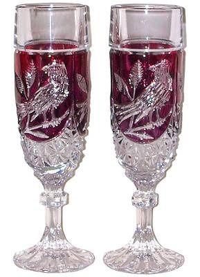 Fenton Champagne Flute Red Byrdes Birds Crystal