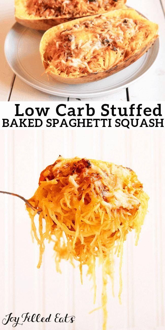 Low Carb Stuffed Spaghetti Squash - Grain-Free, Gluten-Free, THM S - Baked spagh... -