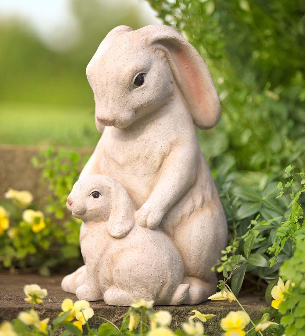 Amazing Cuddling Bunnies Garden Statue | Decorative Garden Accents