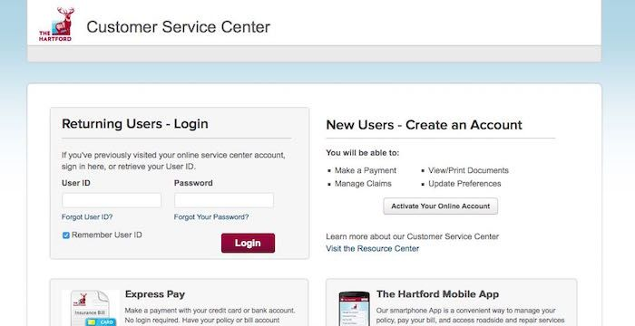 Hartford Insurance Bill Pay Online Login Customer Service Sign