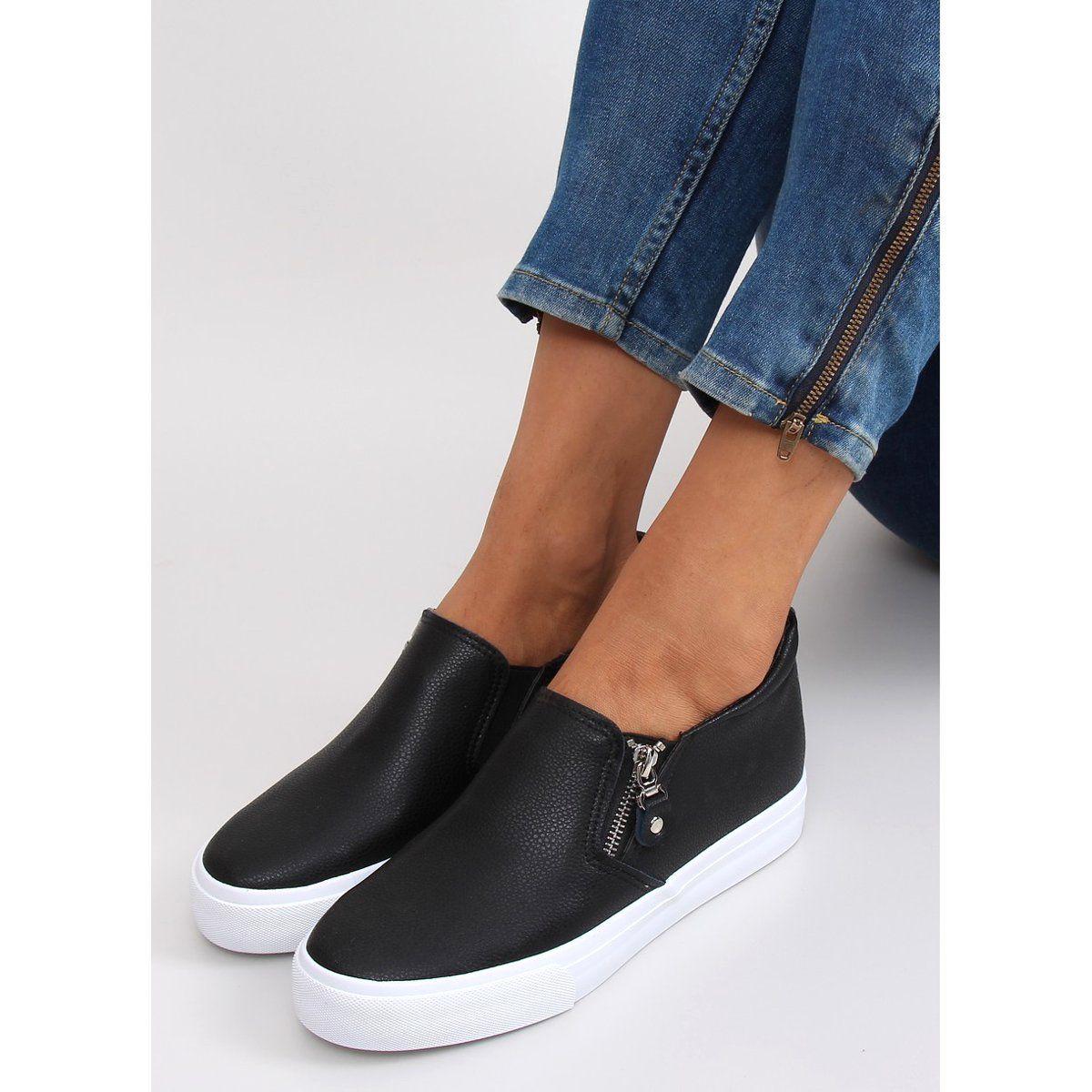 Slipon Na Ukrytym Koturnie 3161 Black Czarne Shoes Sneakers Slip On Sneaker