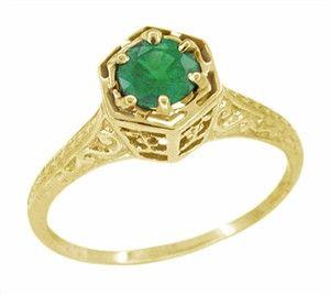 Art Deco Emerald Filigree Engagement Ring in 14 Karat Yellow Gold -  $465  .........  http://www.antiquejewelrymall.com/r180y33e.html