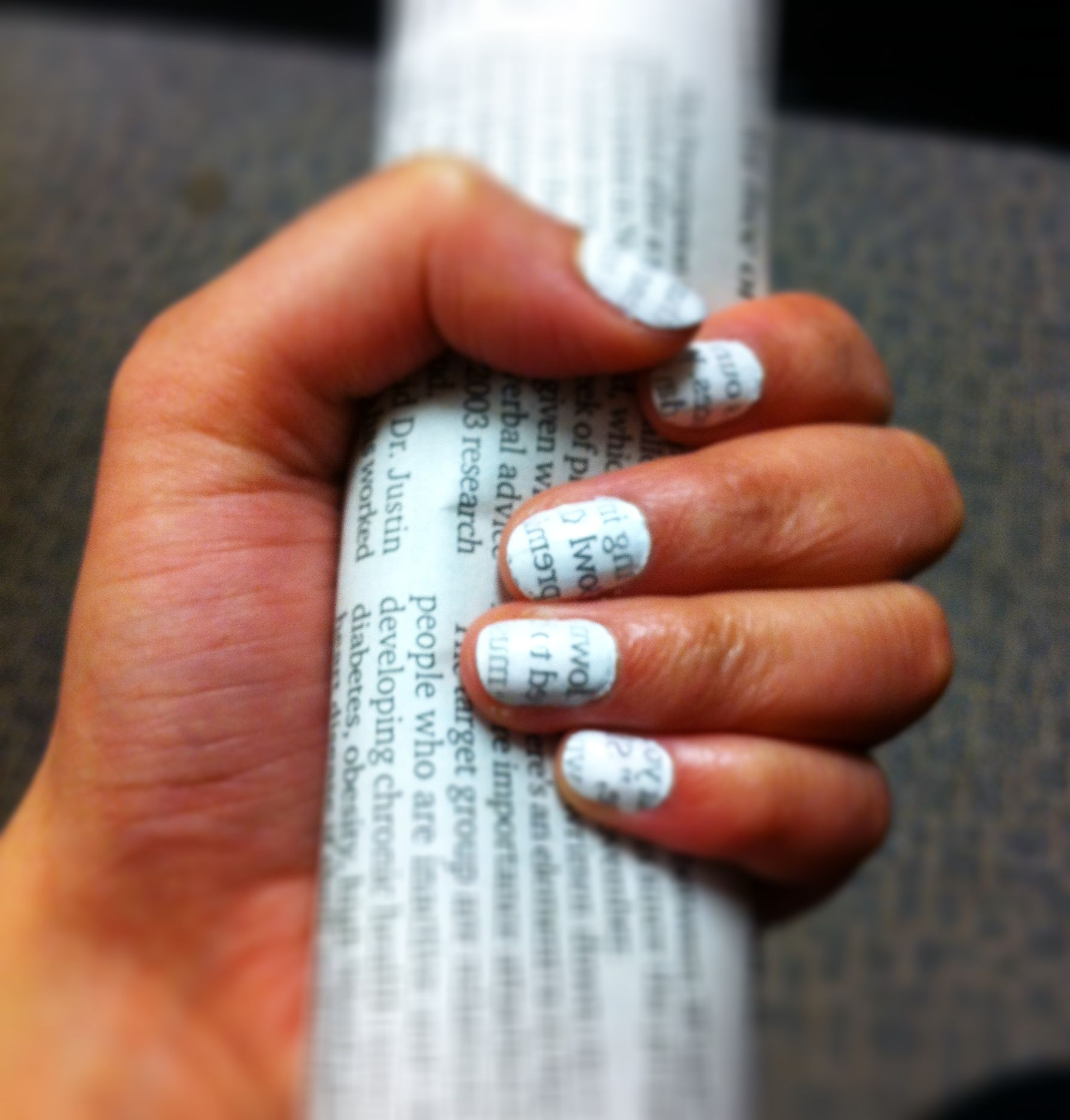 Newspaper nails! Paint nails white. Wait until dry. Rip portions of ...