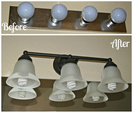 Bathroom lighting makeover with #GELighting... I have this and I need that.  Before and after here I come!!