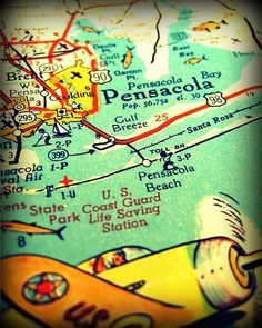 Map Of Pensacola Florida.Beach Prints Florida Maps Pensacola Beach Day Trips Vintage Maps
