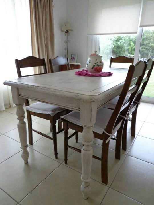 Mesa decapada y patinada muebles pinterest mesas for Sillas blancas vintage