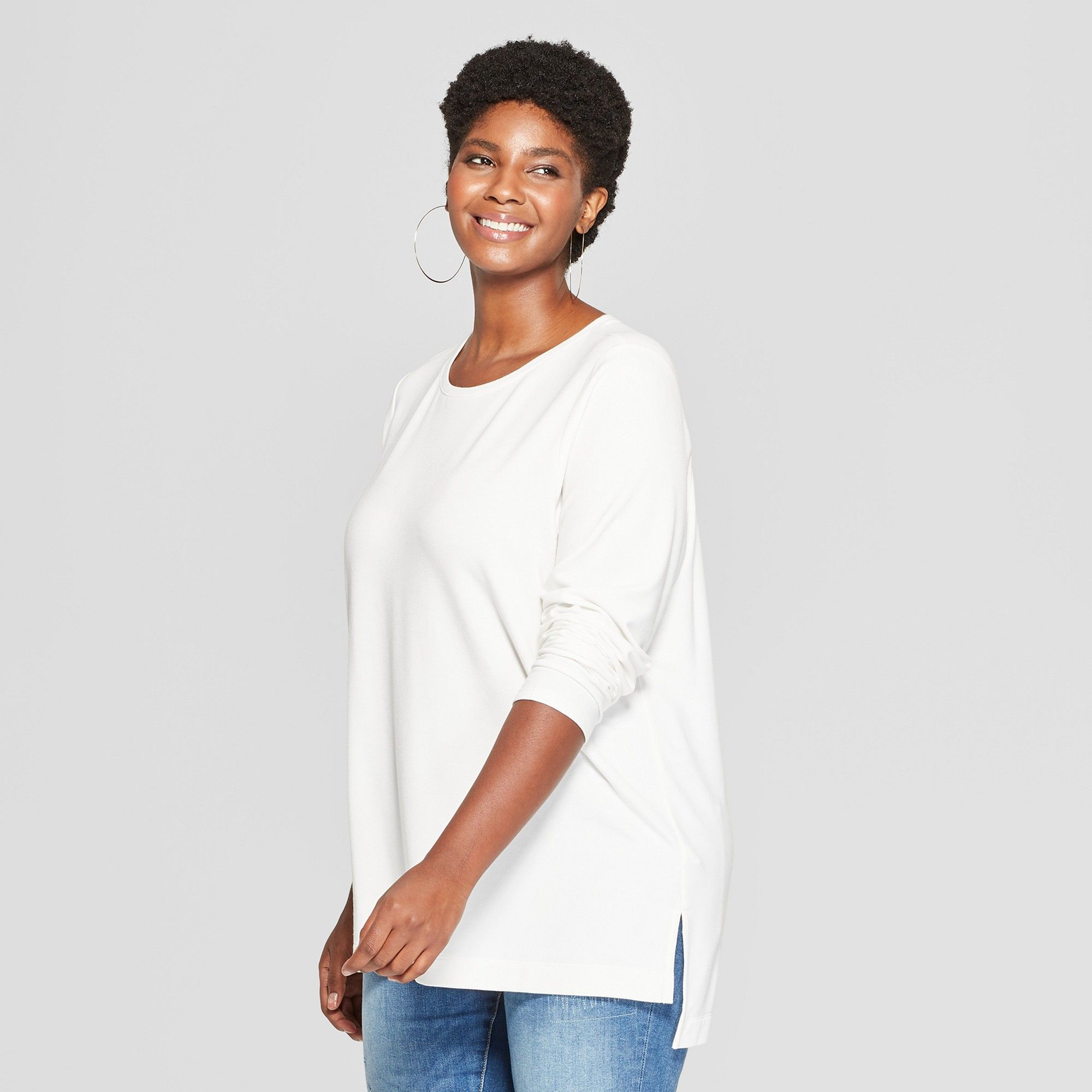 a7a81b5ed Women's Plus Size Long Sleeve Crew Neck T-Shirt - Ava & Viv Cream (Ivory) 1X