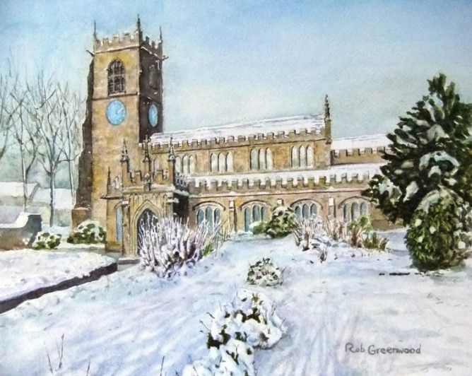 Snow scene - All Hallows Church Almondbury