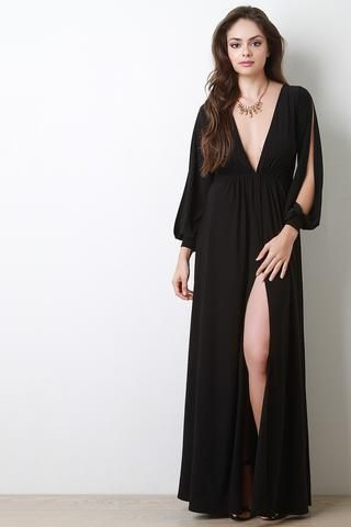 bf7fc2bf0554 Deep V Neck Thigh High Slit Maxi Dress | HOTTEST Dresses | Maxi ...