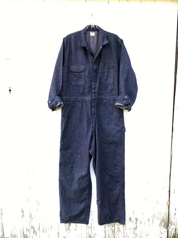 5ac3f256069 1950s Denim Coveralls Big Ben Workwear Dark Wash Vintage 40s ...