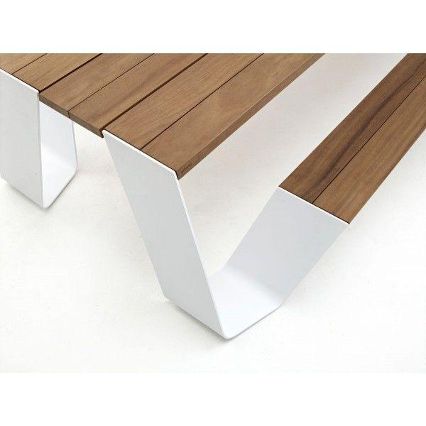 Table En Bois Avec Bancs Intégrés Design Hopper Dextremis Jardin