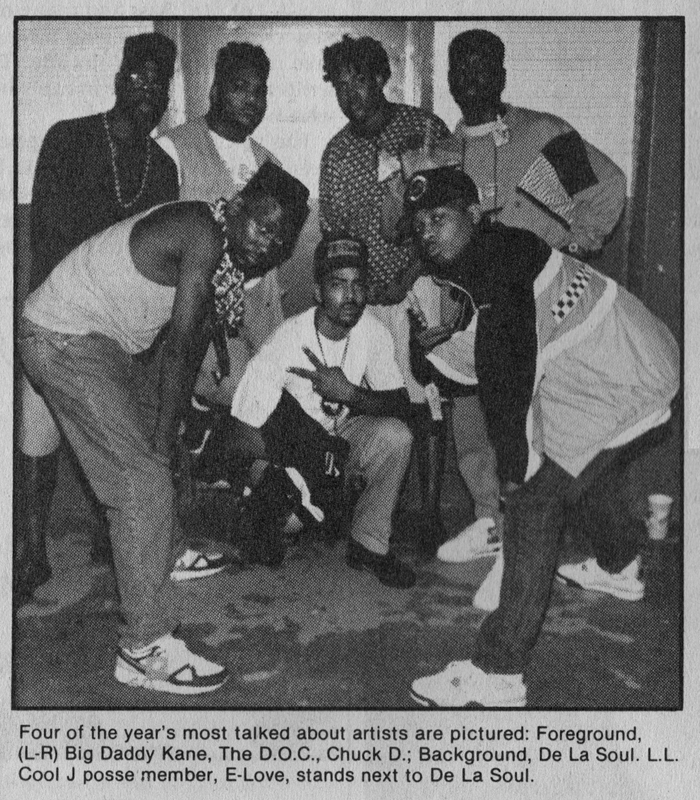 From the February 1990 issue of Rap Masters: Big Daddy Kane, The D.O.C., Chuck D, De La Soul & E-Love.