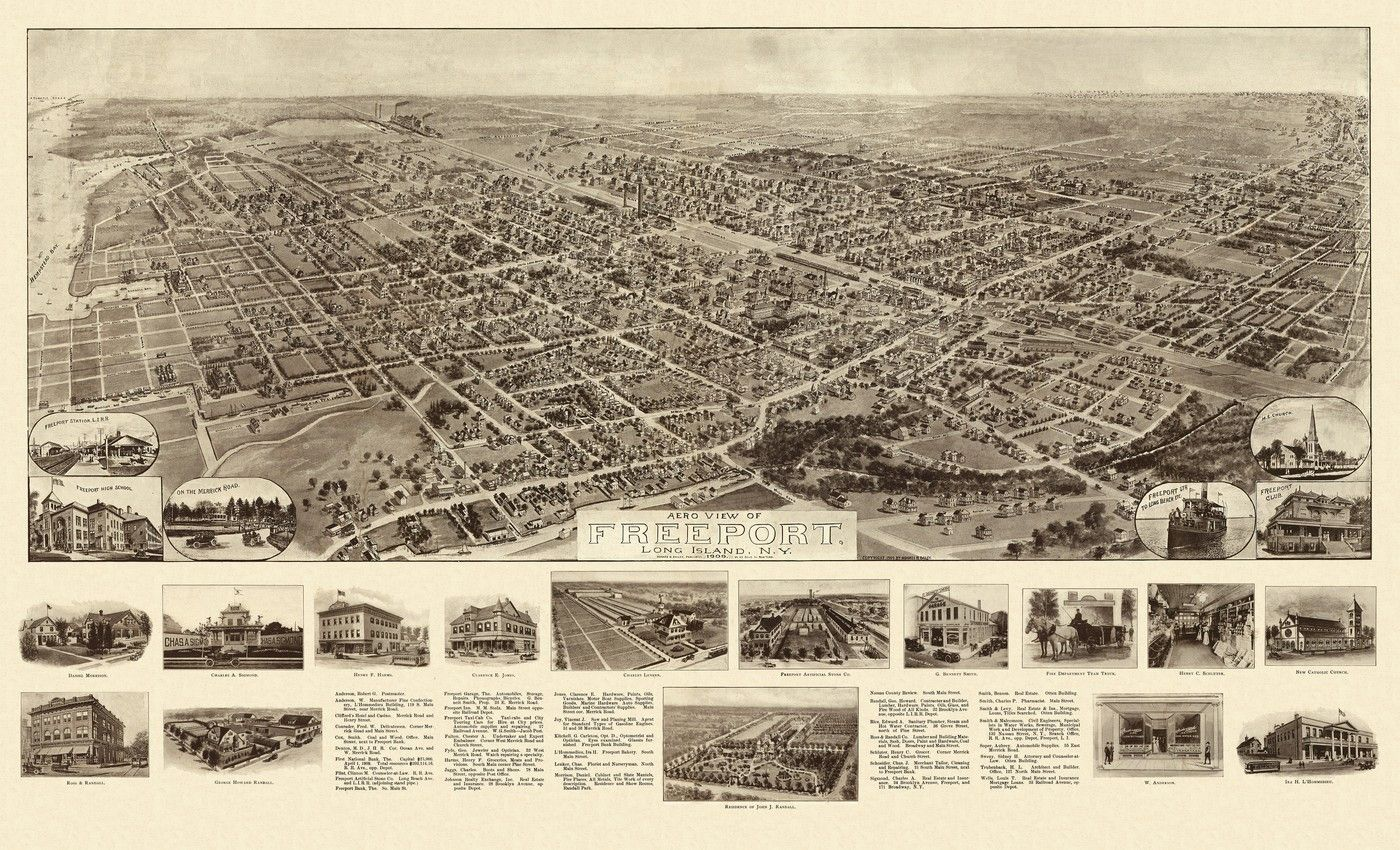 Old Map Of Freeport New York  Nassau County Poster Nassau - Nyc map long island city