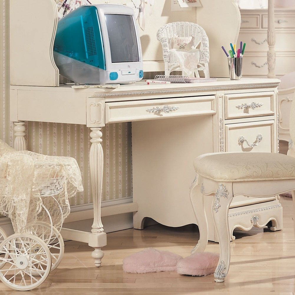 Antique White Office Desk - Real Wood Home Office Furniture Check ...
