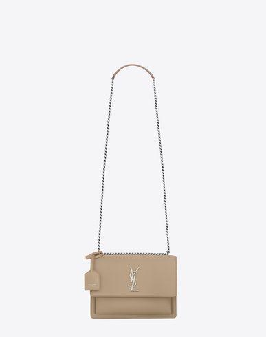 SAINT LAURENT Medium Sunset Bag In Dark Beige Leather. #saintlaurent #bags #shoulder bags #leather #crossbody #