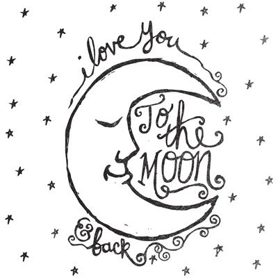 I Love You To The Moon And Back Art Print I Love You Drawings
