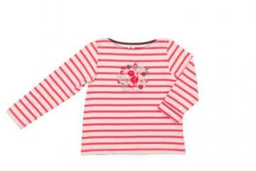 Petit Bateau Long Sleeve Striped Top with flowers