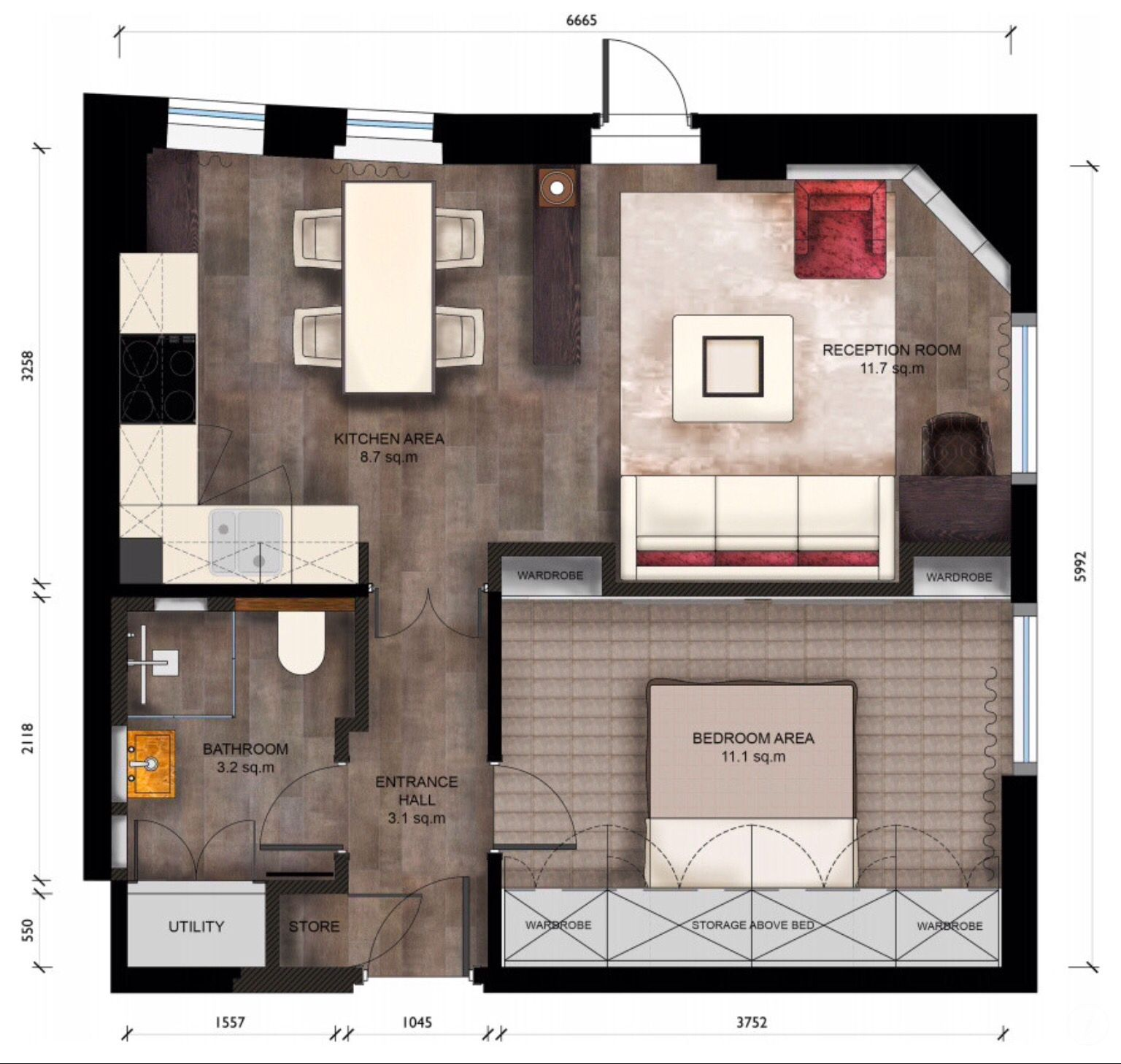 Charming Floor Plan By Keir Townsend 450 Sq Feet