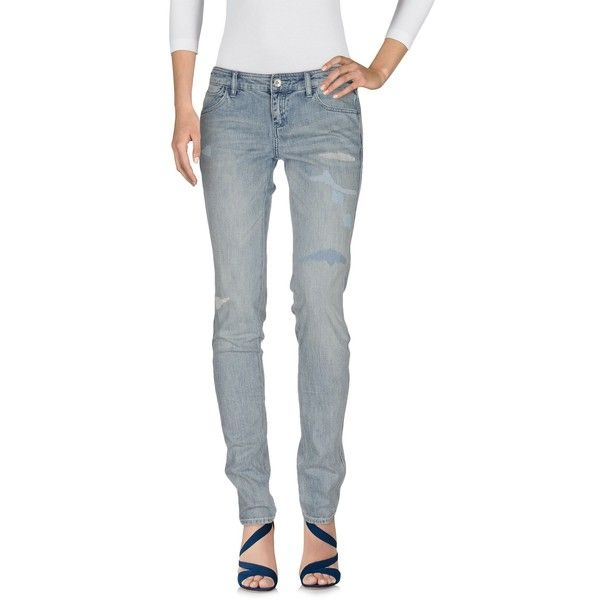 Armani Jeans Denim Trousers (215 CAD) ❤ liked on Polyvore featuring pants, blue, zipper trousers, button pants, denim pants, blue denim pants and slim fit pants