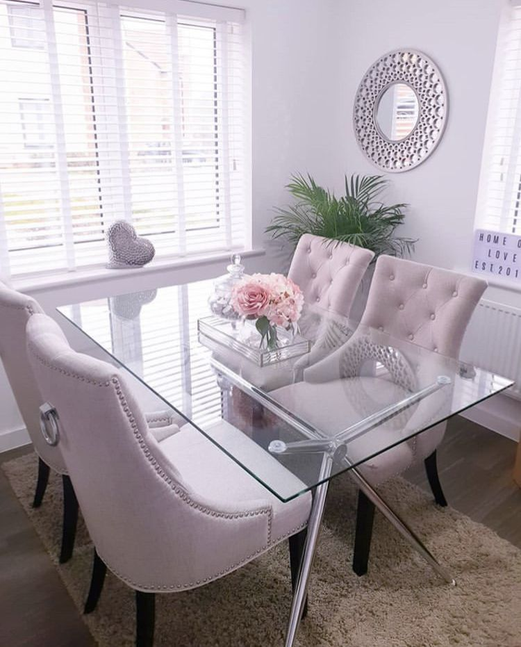 Glass And Chrome Dining Tables Dining Room Glam Dining Room Table Decor Dining Room Small