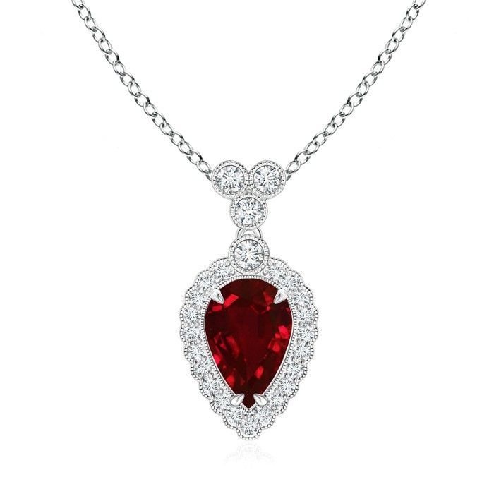 Angara Rose Gold Diamond Halo Ruby Drop Necklace m2QIWnIh9Y