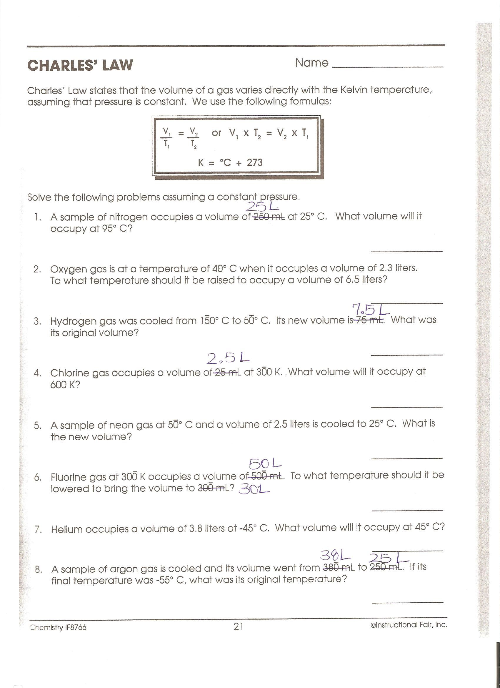 35 Boyles Law Worksheet Answer Key