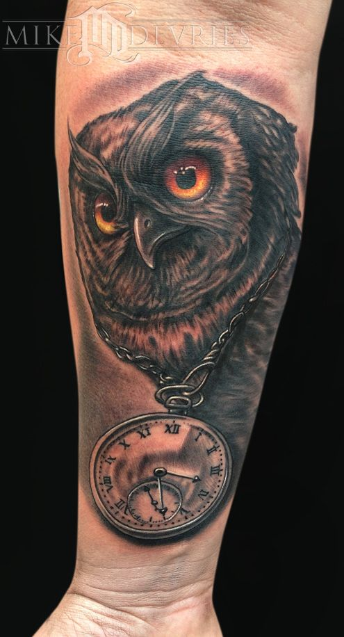661965163db33 Mike DeVries - Owl and Clock Tattoo | Tattoo Inspiration | Tattoos ...