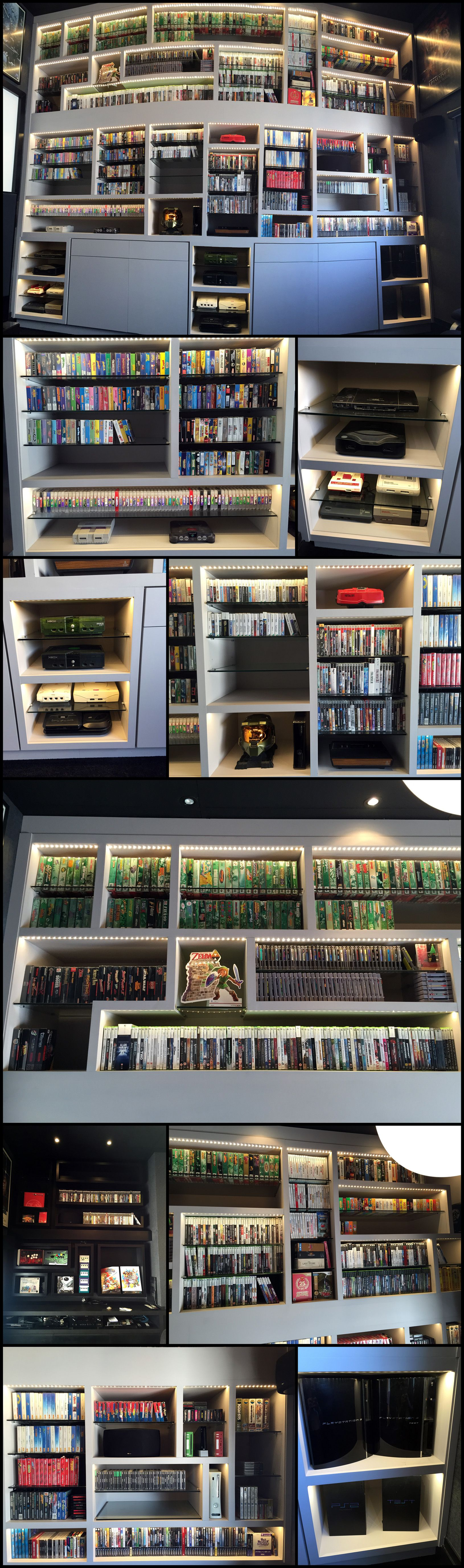 Details of the beautiful video game display wall of shelves with details of the beautiful video game display wall of shelves with led lights via reddit user amipublicfo Image collections