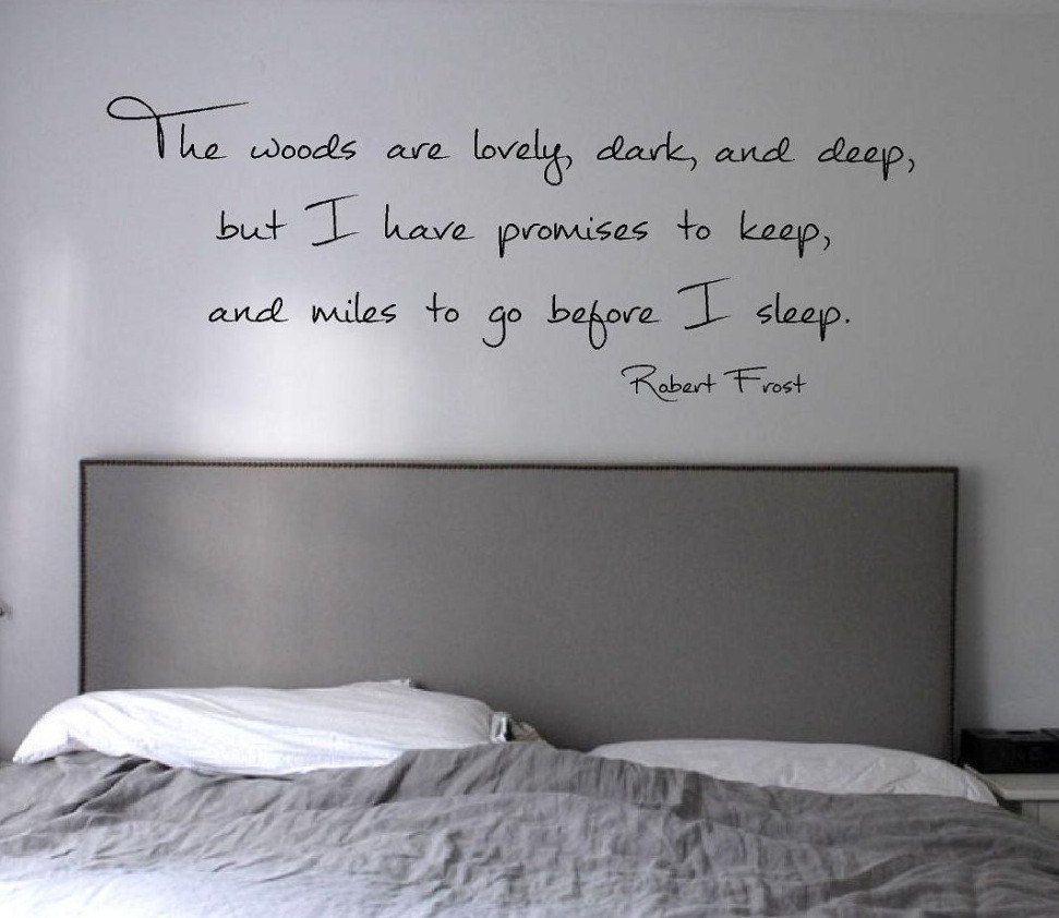 The woods are lovely dark and deep robert frost quote vinyl wall
