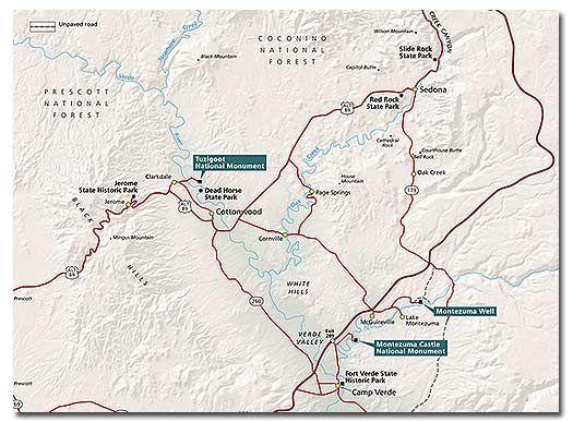 Tuzigoot National Monument Desertusa National Monuments Montezuma Castle National Monument Arizona Map