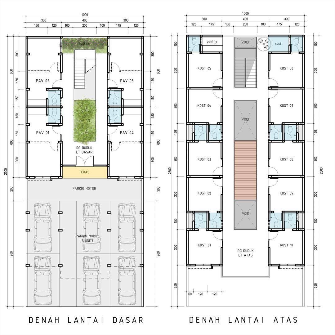 Tempat Kost Di Tanah 10x23 M Tempat Parkir Adalah Salah Satu Sarana Penting Yang Harua Ada Pada Sebuah Kost Eksklusif Rumah Denah Lantai Rumah Arsitektur
