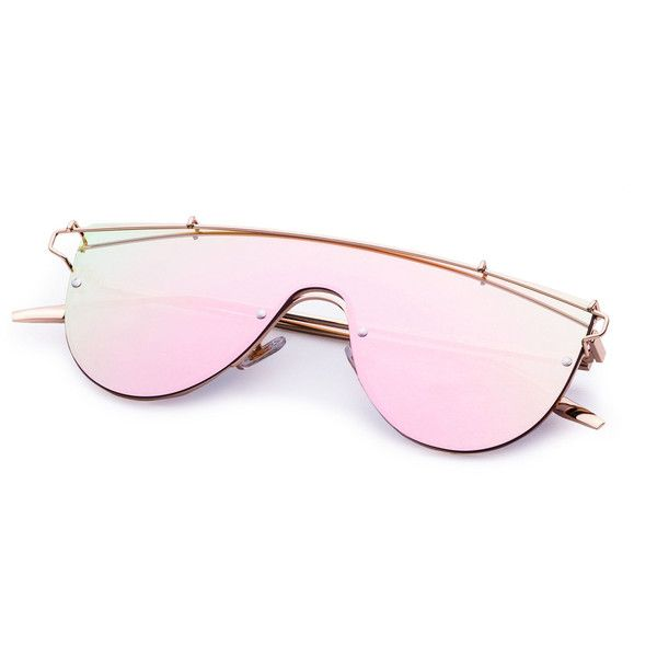 SheIn(sheinside) Pink Lens Gold Frame Curved Sunglasses ($13 ...