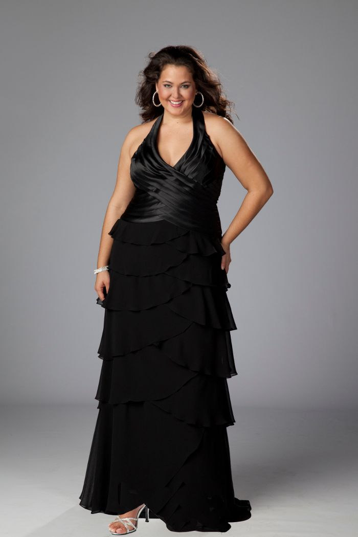 Formal long black dress plus size