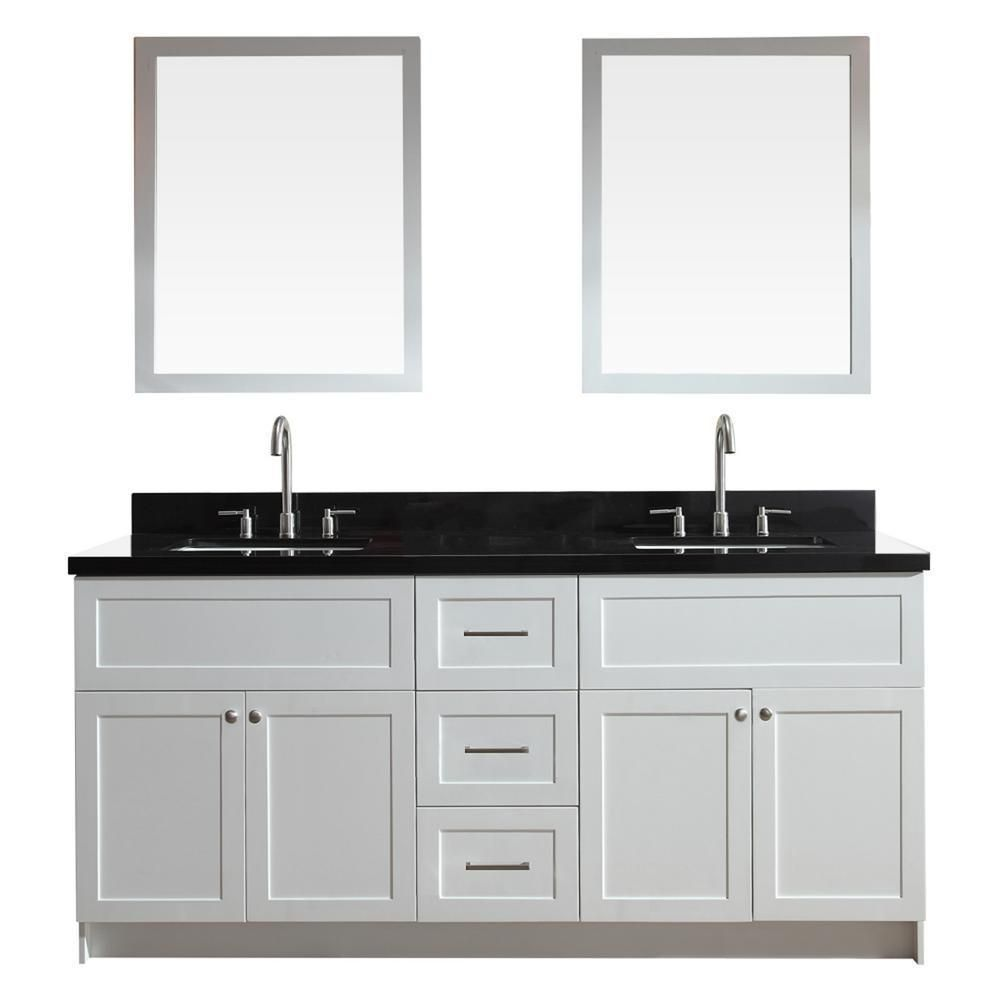 Ariel Hamlet 73 White Modern Double Sink Vanity Set W Black