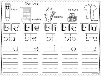 silabas trabadas tracing spanish syllables with blends syllable spanish and students. Black Bedroom Furniture Sets. Home Design Ideas