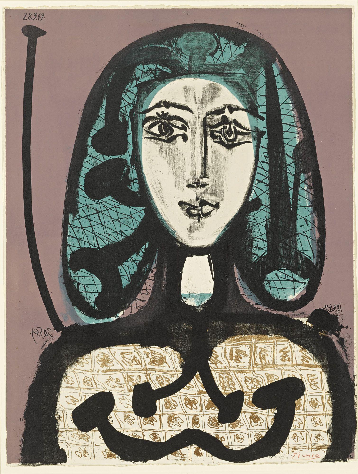a860791f49b Pablo Picasso LA FEMME À LA RÉSILLE (FEMME AUX CHEVEUX VERTS) (B. 612  M.  178 TER) Lithograph printed in colors