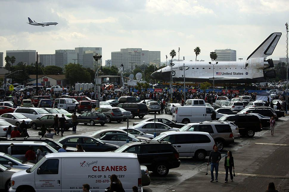 Space shuttle Endeavour rolls through the streets of L.A