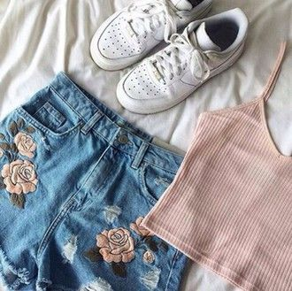 shorts kawaii denim grunge soft grunge aesthetic tumblr roses pink white  black blue green grey nike
