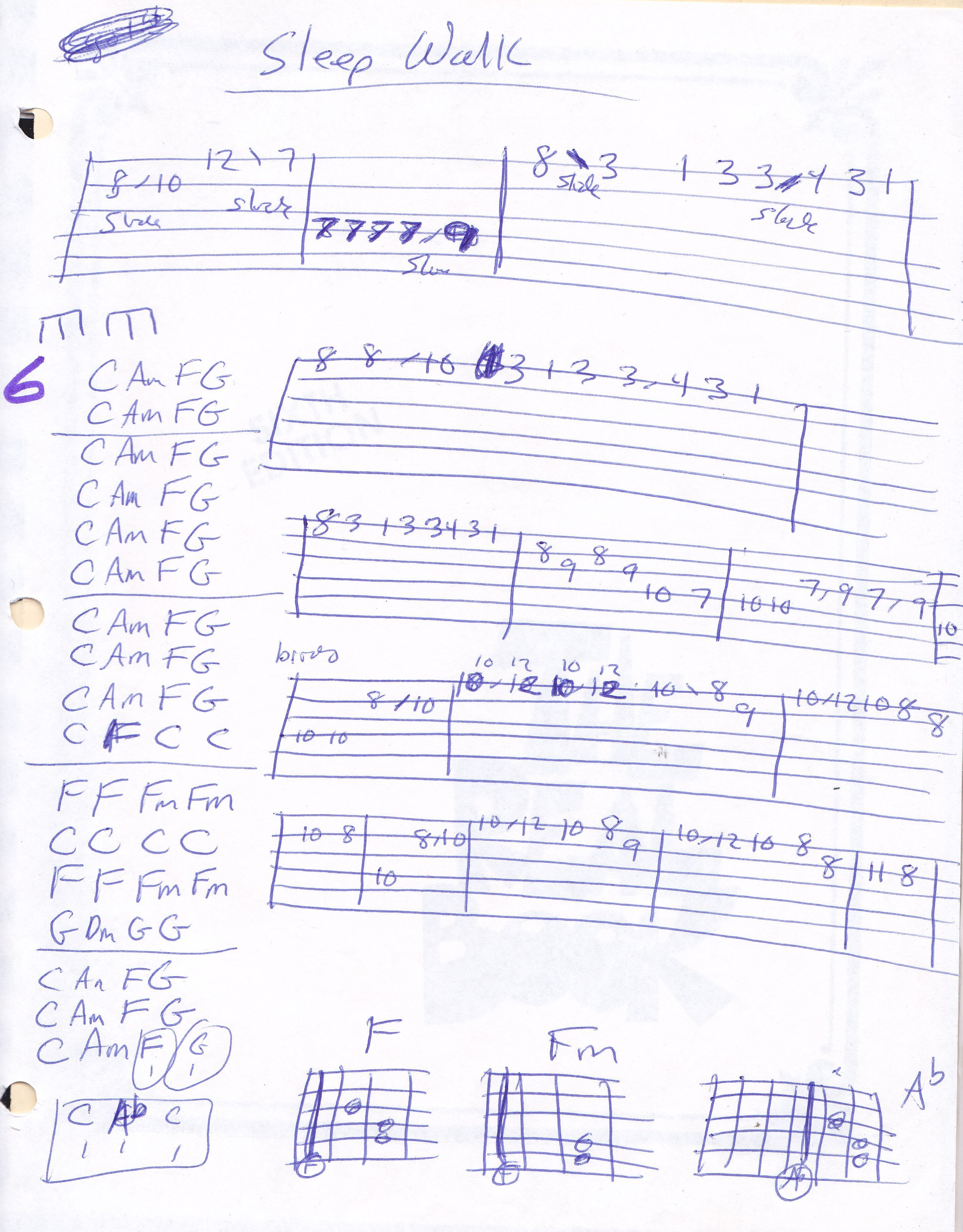Sleep Walk Johnny Santos Guitar Chart And Tab In C Major